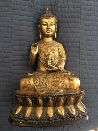 """Buddha Gilded Bronze 16 pounds 16"""" tall Fine Condition"""