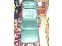 Comfy Leather Swivel Chair and Foot stool.