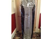 Evans Black and White Maxi Dress New Size 30/32