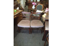 Charming Pair of Antique Regency Mahogany Carved Back Side/Parlour Chairs