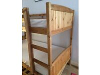 Solid Pine single bunk beds with trundle and two mattresses