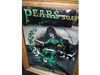 Appealing Vintage Style Pears Children Soap Advertising Framed Wall Glass Mirror
