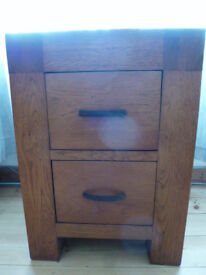 Contemporary Chunky Solid OAK Chest of Drawers or Bedside Cabinet with Two deep drawers