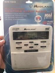 Midland Emergency Weather Alert Radio w/ Alarm Clock NOAA Trilingual WR-100 ~NEW