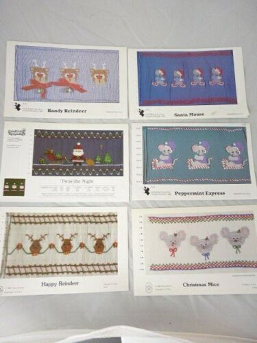 Six 6 Smocking Plates Christmas Designs Mice Reindeer Santa Sled Santa Mouse