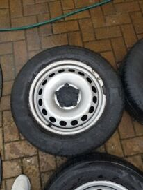Vw caddy wheels good tyres and centre caps