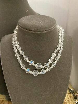 1950s Jewelry Styles and History Vintage Faux Crystal Two Strand Necklace 1950s $8.99 AT vintagedancer.com