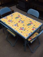 Vintage Children's Play Table and Chair Set