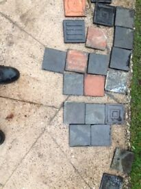 Antique Victorian Quarry Tiles in Black and Terracotta