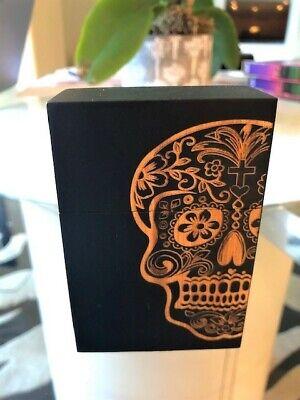 Cigarette Pack Holder Wooden Handcrafted Sugar Skull Day of Dead Design (Black)