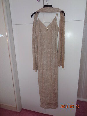 LADIES BEIGE LACE EVENING DRESS WITH MATCHING SHAWL / SCARF REDUCED for sale  Shipping to South Africa