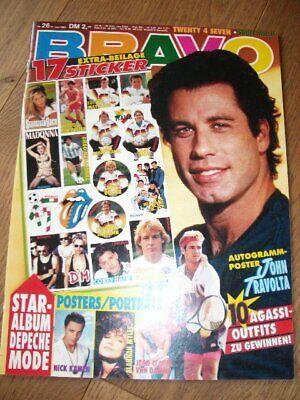 BRAVO 26/1990 TRAVOLTA DEPECHE MOD FUSSBALL-WM-STICKER AGASSI A MYLES VAN DAMME  (Fußball-wm-sticker)