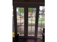 two pairs patio doors, one pair 125cm the other 190cm approx. good condition.