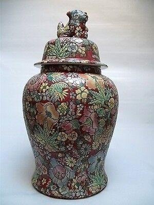 Asiatika Große China Deckelvase mit Shishi handbemalt  Höhe ca. 43,5 cm