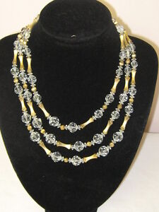3 strand Glass Bead Necklace Cylindrical Metal Spacing Clods