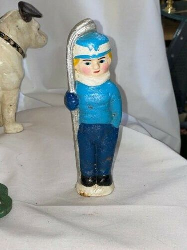 """Vintage Cast Iron Snow Skier Coin Bank  5-1/2"""" Tall"""