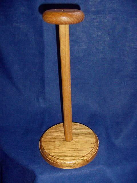"Vintage 13"" Oak Wood Hat Wig Counter Display Stand"