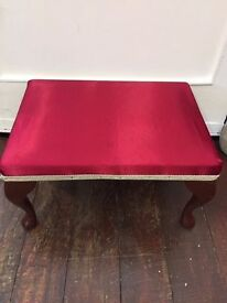 Pretty Red *SATIN FOOTSTOOL* Queen Anne Legs VGC Low Seat