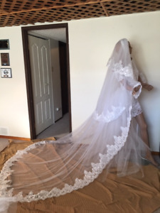 NEW 3 Tier 3 M Long Sparkly  Lace Cathedral Veil White or Ivory