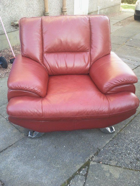 Harveys - Red Leather Sofa ( Chair & Pouffe set ) Lounge / Living ...