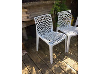 White Designer Plastic Chairs - £28 each