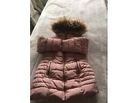 Next fur hooded thick coat 3-4years