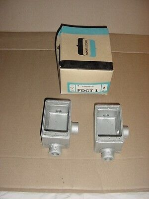 New Crouse-hinds Fdct 1  2-12 Deep Cast Outlet Box With 3-hubs 12 Npt Fdct1
