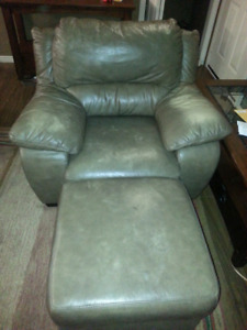 Comfortable  Leather Chair and ottoman