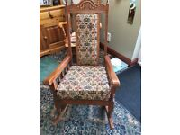 Solid oak Tapestry Rocking chair, excellent condition small mark on arm