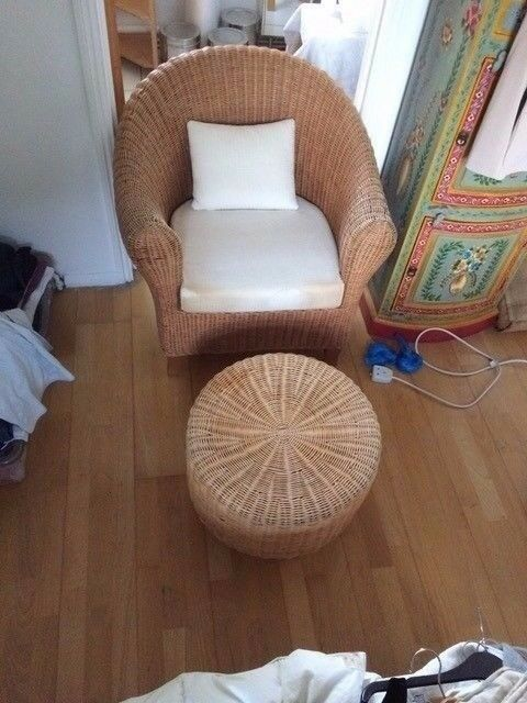 WICKER WORK ARM CHAIR AND STOOL IN GOOD CONDITION FREE LOCAL DELIVERY AVAILABLE 07486933766