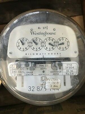 Vintage Westinghouse Electric Meter-240 Volts 100 Amp 3-wire 2p2g4 Ds 1954 R