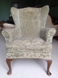Elegant vintage (circa 1940) velvet embossed armchair