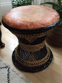 Vintage Stool Leather Top Beautiful Design Rattan Woven Wicker Seat
