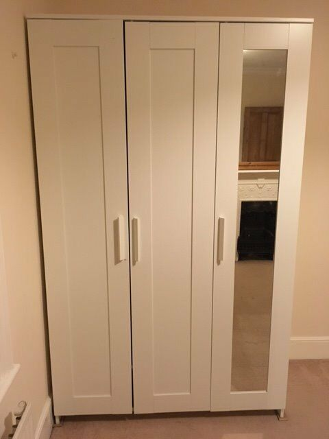 IKEA BRIMNES 3 Door Wardrobe White With Mirror