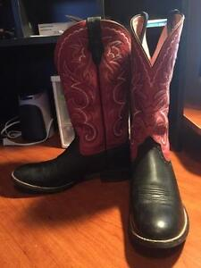 Ariat Black and Red Leather Western/Cowboy Boots