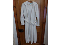 Odille at Oasis Cream Fleece Long Dressing Gown with Hood - Size Small