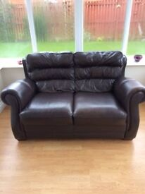 leather settee and matching chair