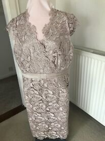 Jacques Vert Lace Dress fully lined (Taupe) Size 18