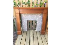 Wooden fireplace surround plus marble back panel