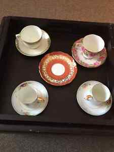 cup and saucers - nippon- queen ann -aynsley- salisbury