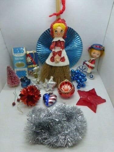 Darling Lot of Vintage 4th of July Independence Day Craft Ornaments Glass Flock