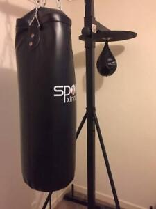 Boxing bag and speed ball with stand. SWAP for exercise bike