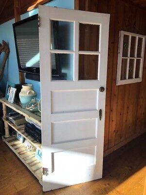 Exterior Wood Door 30 x 78 with 4 GLASS PANES 3 HORIZANTAL FLAT PANELS ()