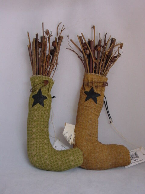 Very Primitive Stocking Ornaments Honey & Me Mustard Green Star design Twigs 2p