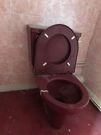 Toilet, sink, fish towel rail, toilet roll holder - Burgundy deep red maroon colour (from 1980's)