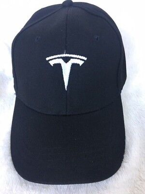 (Embroidered TESLA Logo Baseball Cap Hat Sport Racing black Model S Adjustable)