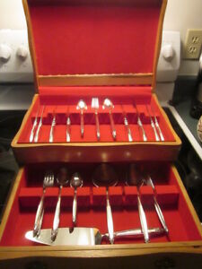 Silver Plate cutlery - 4 place settings and chest