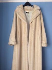 Luxurious full length polar white fake fur coat size 14