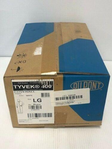NEW (CASE OF 25) DUPONT TYVEK 400 WHITE COVERALLS, LG, TY120SWHLG002500