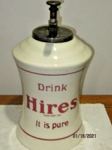 VINTAGE HIRES ROOT BEER SYRUP DISPENSER WITH ORIGINAL PUMP